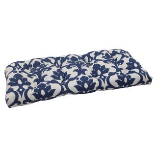 Pillow Perfect Bosco Polyester Navy Tufted Outdoor Wicker Loveseat Cushion