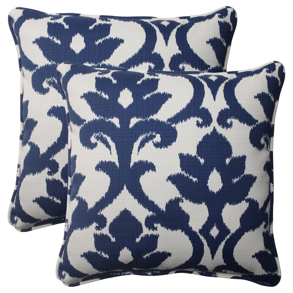 Navy Throw Pillow Sets : Pillow Perfect Navy Outdoor Corded 18.5-Inch Throw Pillows (Set of 2) - Free Shipping Today ...