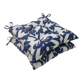 Pillow Perfect Bosco Polyester Navy Tufted Outdoor Seat Cushions (Set of 2)