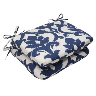 Pillow Perfect Bosco Polyester Navy Rounded Outdoor Seat Cushions (Set of 2)