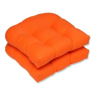 Pillow Perfect Weather-Resistant Orange Outdoor Seat Cushions (Set of Two)