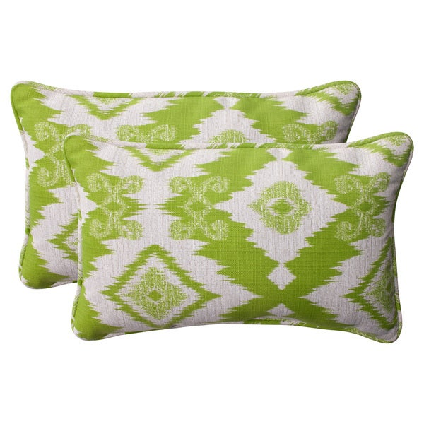 Pillow Perfect Lime Outdoor Rectangle Throw Pillows (Set of 2)