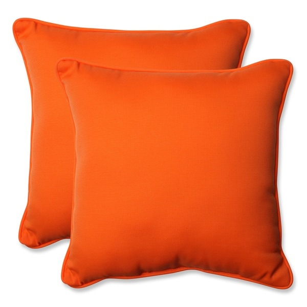 Shop Pillow Perfect Orange 18 5 Inch Throw Pillows Set Of