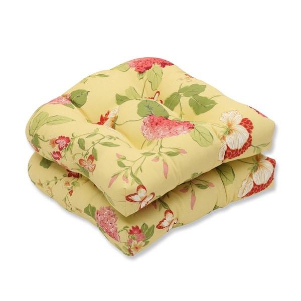 Pillow Perfect Lemonade Outdoor Seat Cushion (Set of 2)