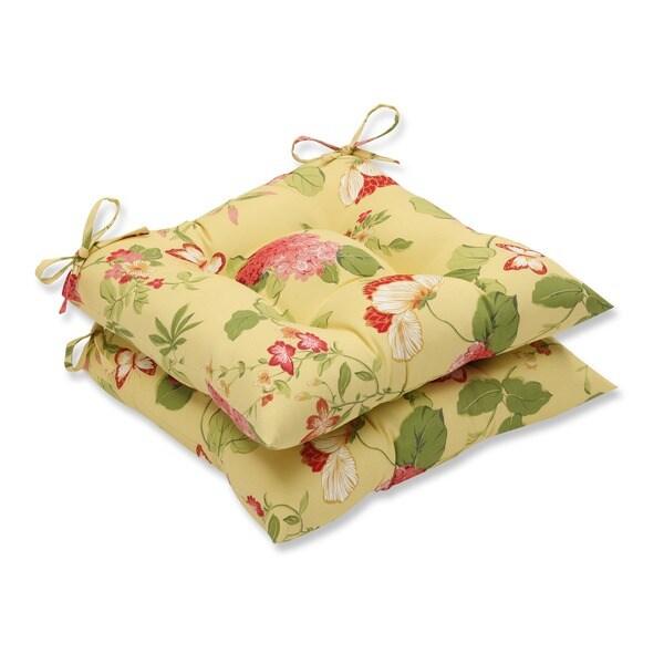 Pillow Perfect Lemonade Indoor/Outdoor Seat Cushions (Set of 2)