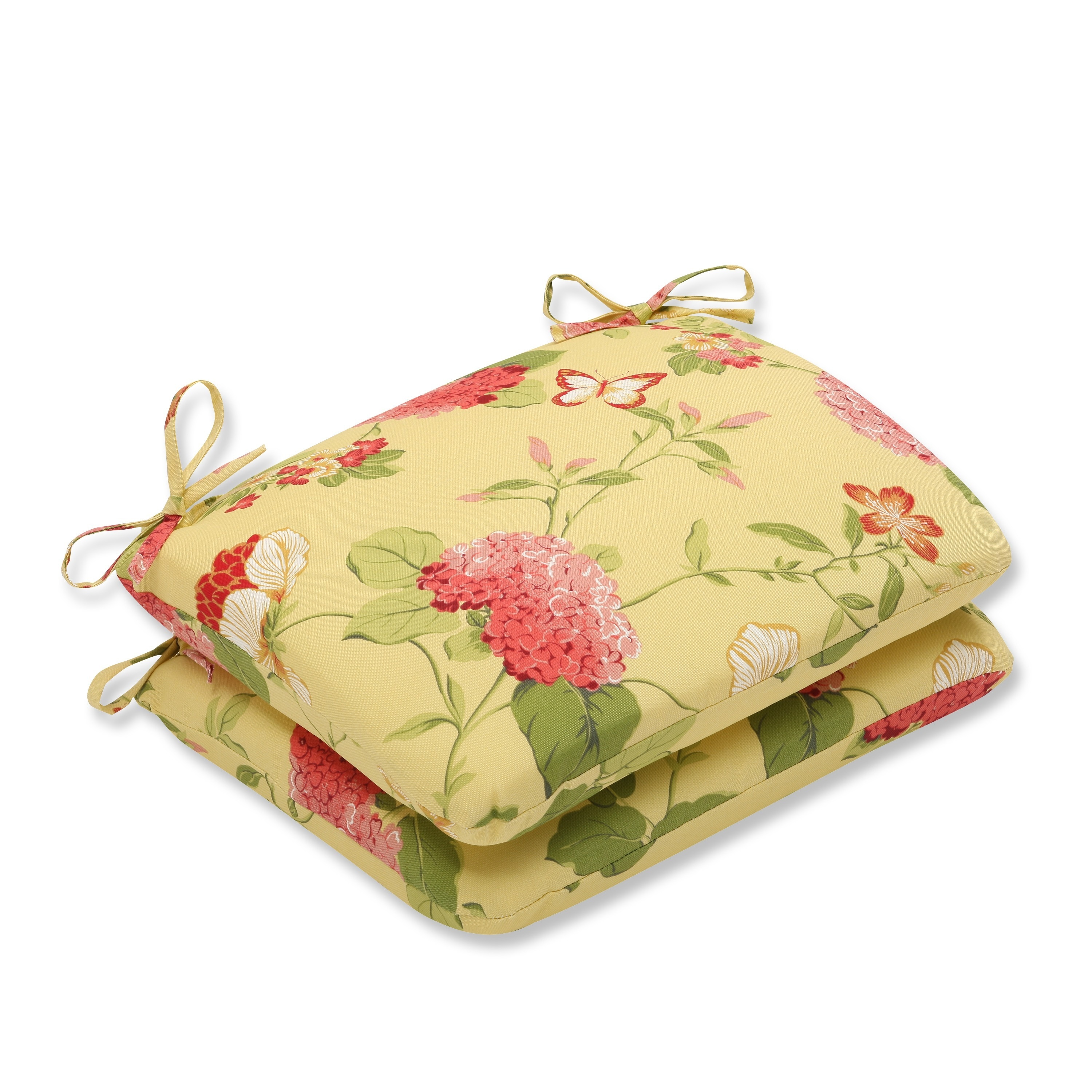 Pillow Perfect Lemonade Outdoor Seat Cushions Set Of 2 Overstock 7820428