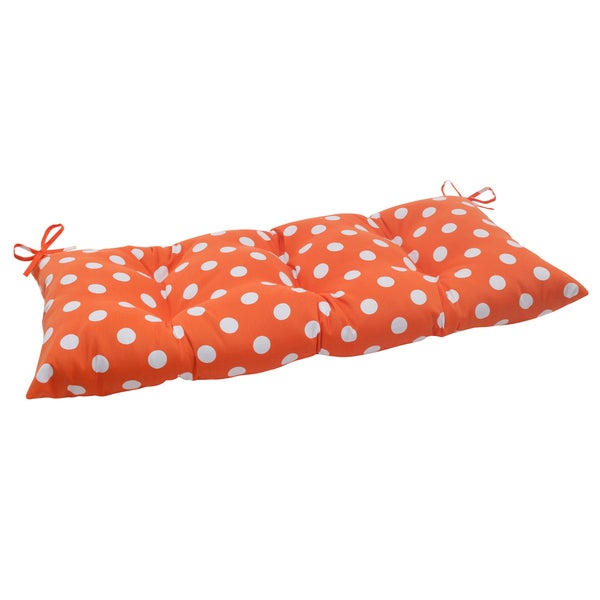 Pillow Perfect Orange Polka Dot Indoor/ Outdoor Loveseat Cushion