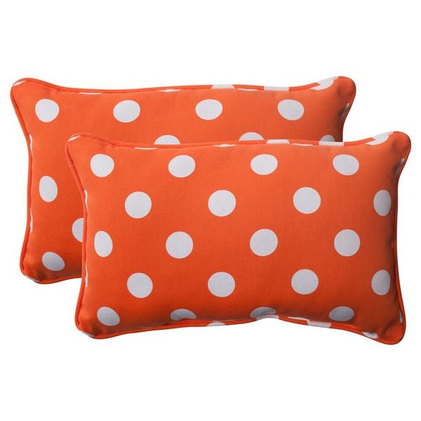 Pillow Perfect Orange Polka Dot Corded Rectangular Throw Pillows (Set of 2)