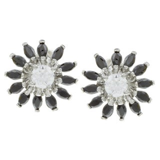 City by City City Style Silvertone White and Black Cubic Zirconia Flower Earrings