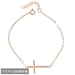 La Preciosa Sterling Silver Sideways Cross Single CZ Bracelet