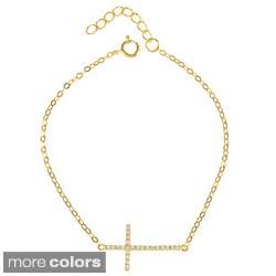 La Preciosa Sterling Silver Cubic Zirconia Sideways Cross Bracelet