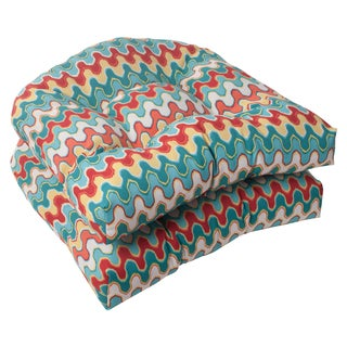 Pillow Perfect Outdoor Blue/Multicolored Nivala Wicker Seat Cushions (Set of Two)