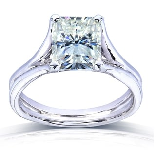 Annello by Kobelli 14k White Gold Radiant-cut Moissanite Solitaire Split Shank Ring