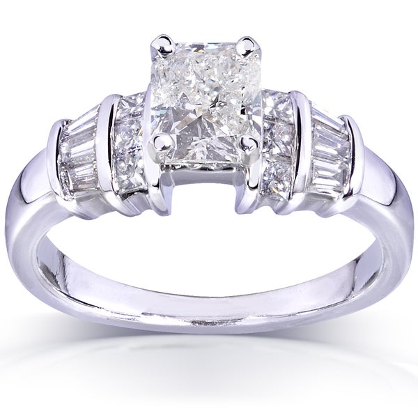Annello by Kobelli 14k White Gold 1 1/2ct TDW Radiant Diamond Engagement Ring (H, I2)