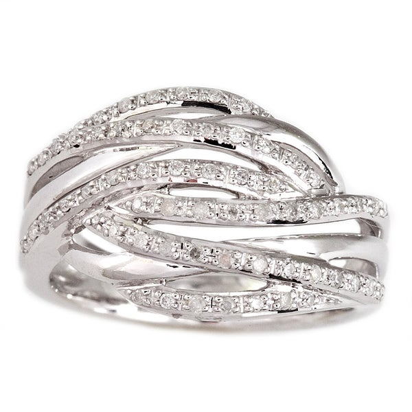 Sterling Silver 1/4ct TDW Diamond Crossover Ring (H-I, I2)