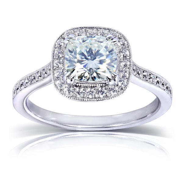 Annello by Kobelli 14k White Gold 1 1/2ct TGW Moissanite and Diamond Cushion Halo Engagement Ring