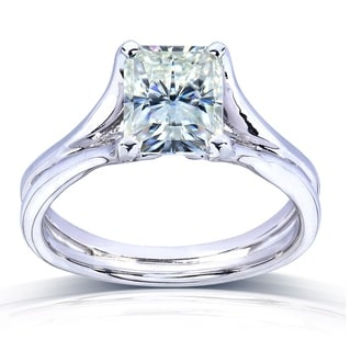 Annello by Kobelli 14k Gold Radiant-cut Moissanite Solitaire Split Shank Ring