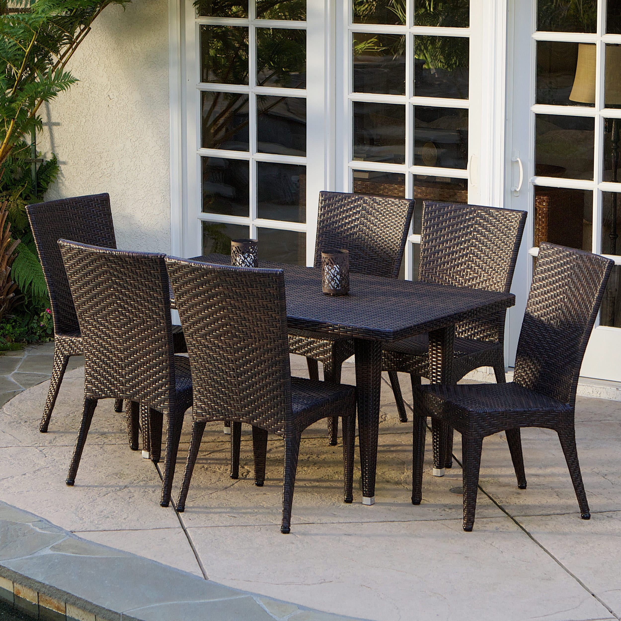Multibrown 7-Pcs Set Christopher Knight Home Brooke Outdoor Dining Set