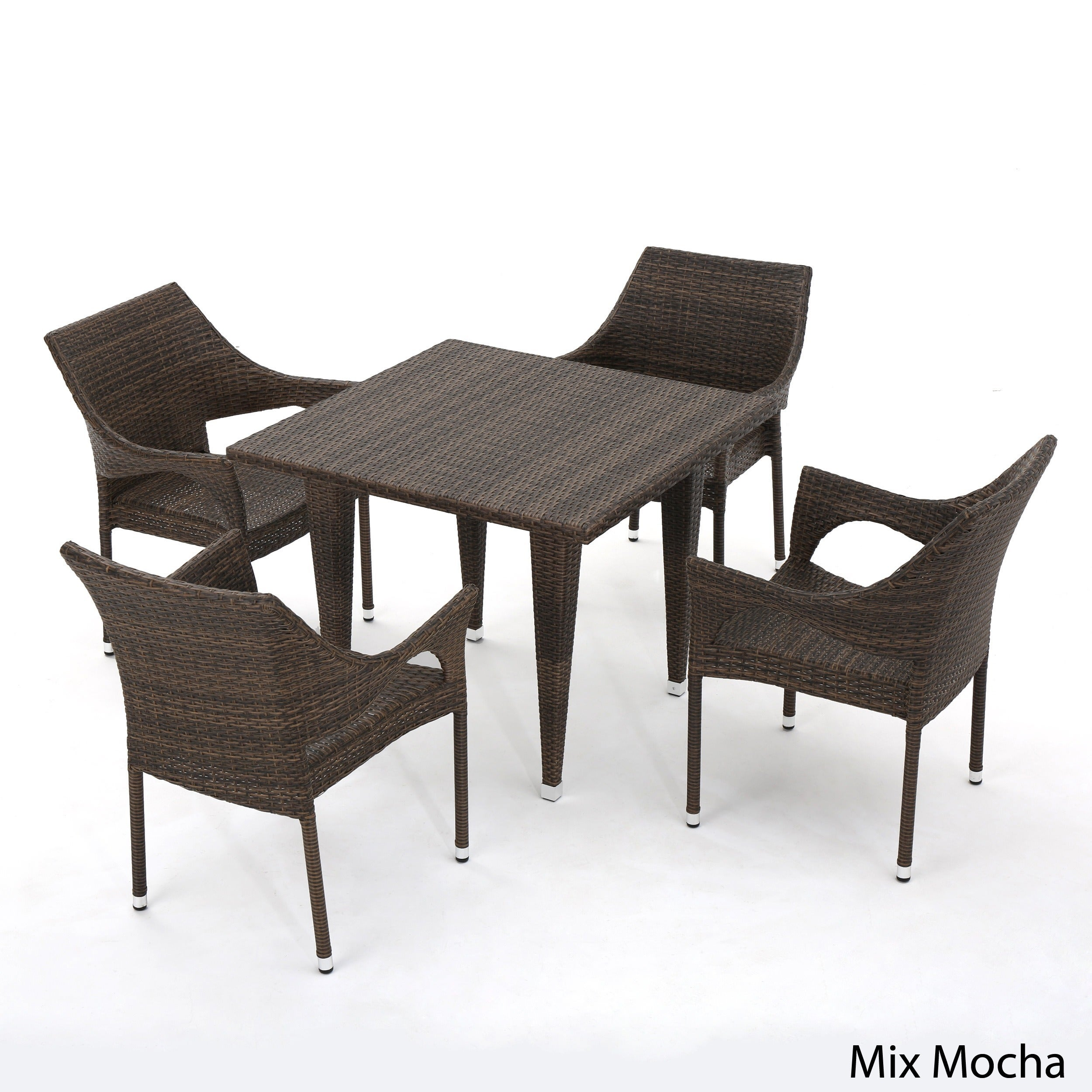 Cliff Outdoor 5-piece Wicker Dining Set by Christopher Knight Home ...