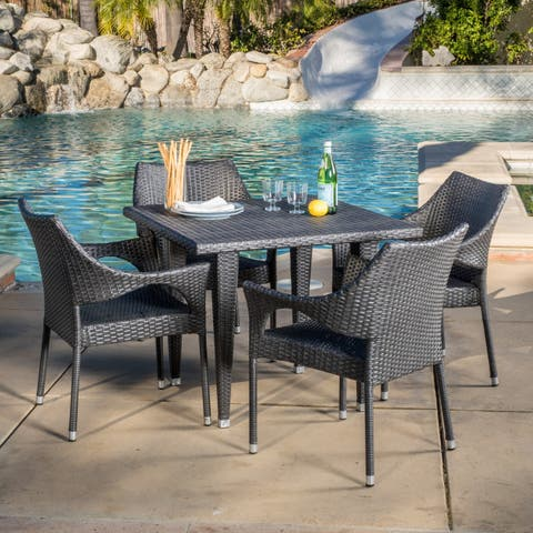 Cliff Outdoor 5-piece Wicker Dining Set by Christopher Knight Home