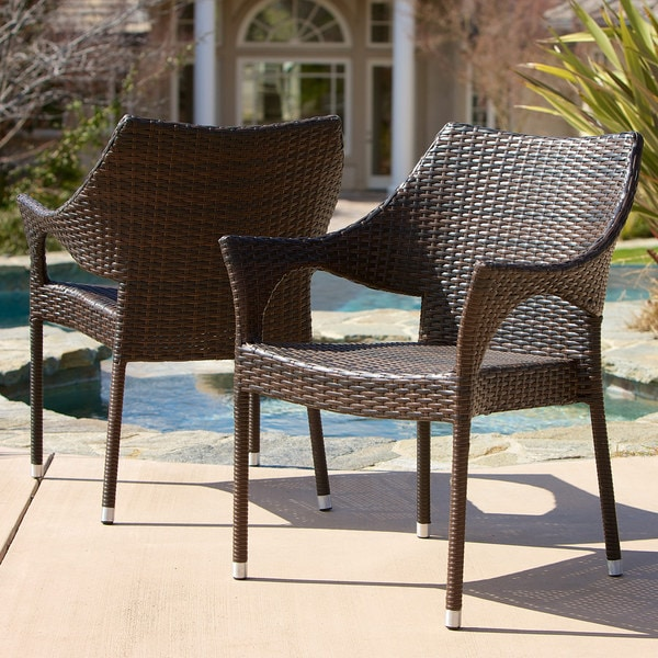 Cliff Outdoor Wicker Chairs Set of 2 by Christopher Knight Home