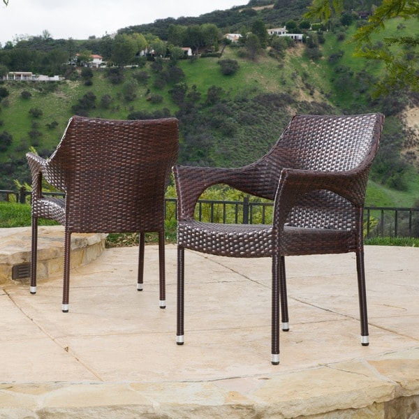 Cliff Outdoor Wicker Chairs by Christopher Knight Home