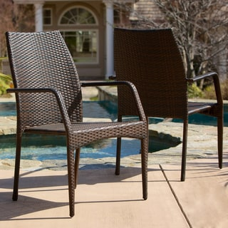 Canoga Outdoor Wicker Chairs (Set of 2) by Christopher Knight Home