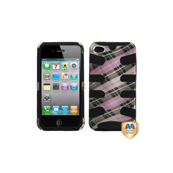 INSTEN Plaid Cross/ Baby Pink/ Black Fishbone Case Cover for Apple 4/ 4S