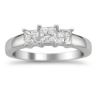 Montebello Platinum 1ct TDW Princess-cut Diamond 3-stone Ring (G-H, VS1-VS2)