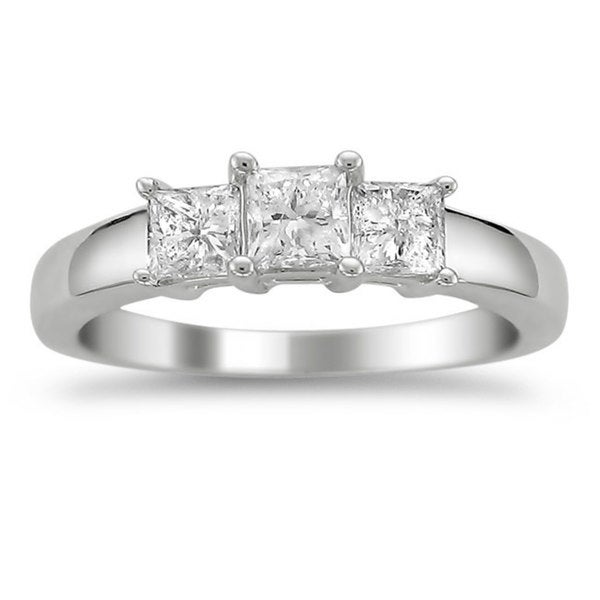 Montebello Platinum 1ct TDW Princess-cut Diamond 3-stone Ring