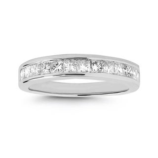 Montebello Platinum 1ct TDW Princess-cut Channel Diamond Wedding Band