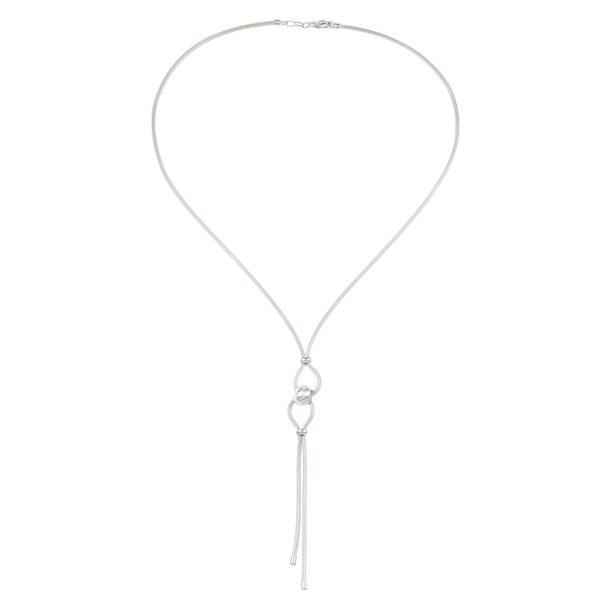 La Preciosa Sterling Silver 18-inch Mesh Beaded Knot Necklace