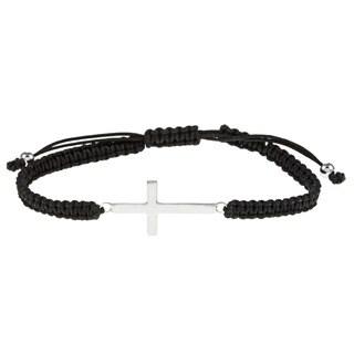 La Preciosa Sterling Silver Sideways Cross Black Macrame Bracelet