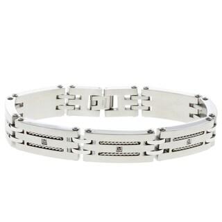 Stainless Steel Men's 1/10ct TDW Black Diamond Bracelet