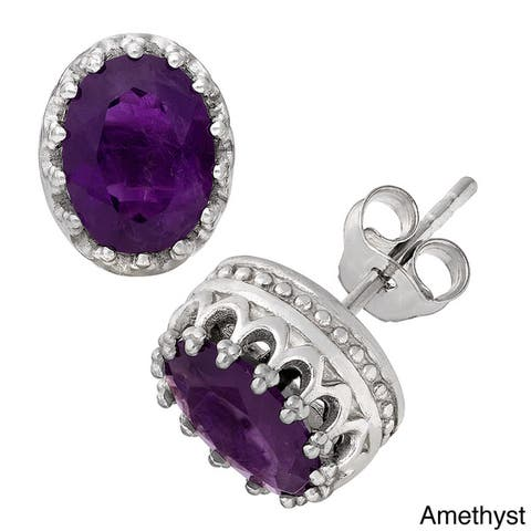 Gioelli Tiara Collection Sterling Silver 8x6mm Oval Gemstone Crown Earrings