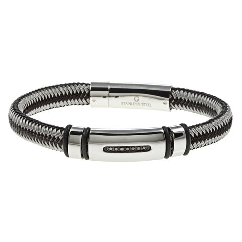 Stainless Steel 1/10ct TDW Black Diamond Braided Bracelet