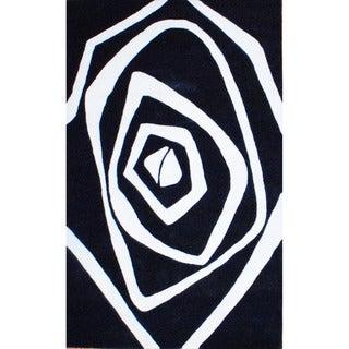 Herat Oriental Indo Tibetan Hand-tufted Black/ Ivory Geometric Wool Rug (5' x 8')