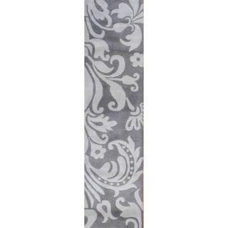 Herat Oriental Indo Tibetan Hand-tufted Grey/ Beige Wool Rug (2' x 8')