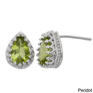 Gioelli Tiara Collection Sterling Silver 9x6mm Pear-cut Gemstone Crown Earrings