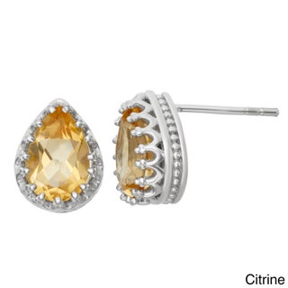 Gioelli Tiara Collection Sterling Silver 9x6mm Pear-cut Gemstone Crown Earrings
