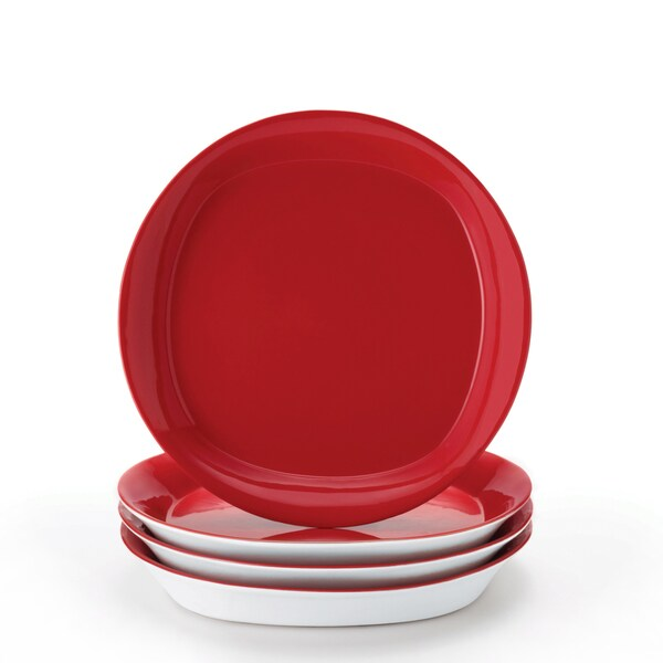 Rachael Ray Dinnerware Round and Square 4-piece 8.5-inch Red Salad Plate Set