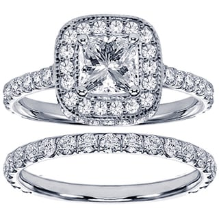 14k White Gold 2 2/5ct TDW Diamond Bridal Ring Set