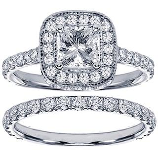 14k White Gold 2 2/5ct TDW Diamond Bridal Ring Set (G-H, SI1-SI2)