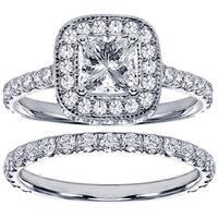14k White Gold 2 2/5ct TDW Diamond Bridal Ring Set