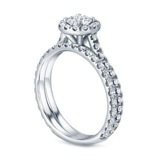 Auriya 14k Gold 1ct TDW Round Halo Diamond Bridal Set (H-I, SI1-SI2)