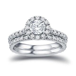 Auriya 14k Gold 1ct TDW Round Diamond Halo Bridal Ring Set
