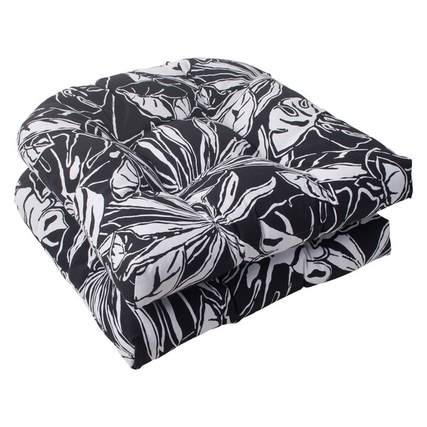 Pillow Perfect Kiara Polyester Black Wicker Outdoor Seat Cushions (Set of 2)