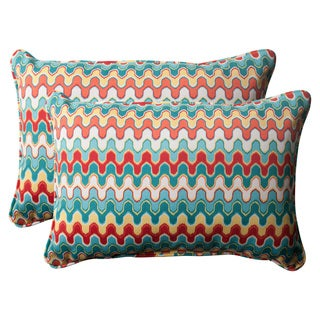 Pillow Perfect Outdoor Blue Nivala Corded Oversized Rectangular Throw Pillows (Set of 2)