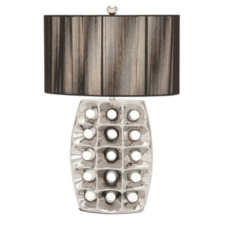 Casa Cortes Artisan 28-inch High Brushed Silver Ceramic Table Lamp