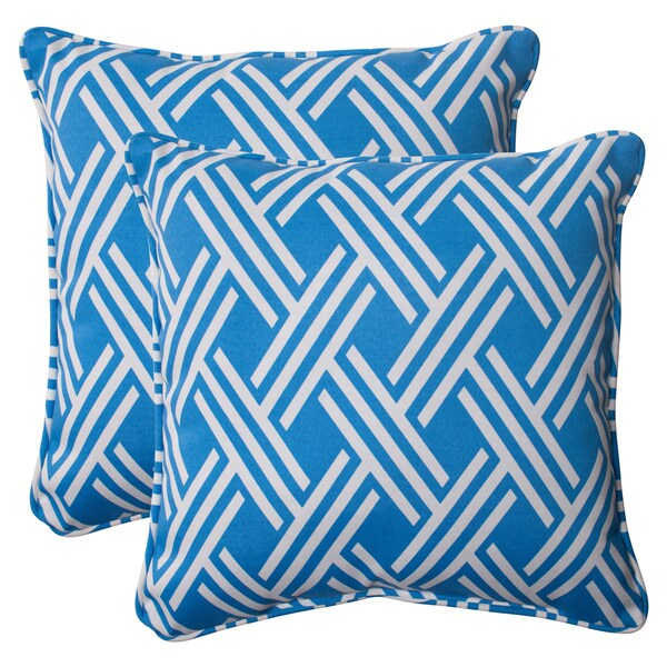 Pillow Perfect Blue Outdoor Carib Corded 18.5-inch Throw Pillow (Set of 2) - Free Shipping Today ...